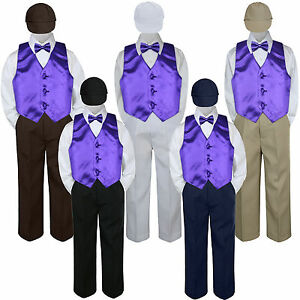 5pc Baby Toddler Kid Boys Navy Pants Hat Bow Tie Purple Vest Suits Set 6