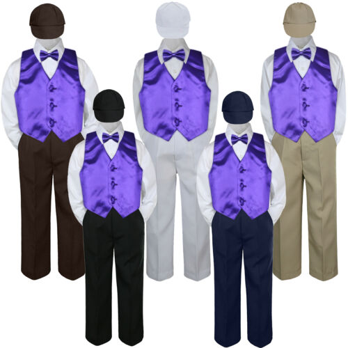 5pc Purple Vest  Bow tie Hat Suit Set Baby Boy Toddler Kid Uniform S-7