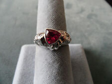 Luxury 1.34CT Natural Rubellite Tourmaline and Diamond Ring 18K White Gold