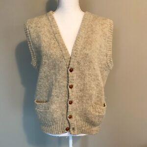 VTG-Hilda-Ltd-100-Pure-Wool-Tan-Knit-Sweater-Vest-Made-in-ICELAND-Mens-Medium