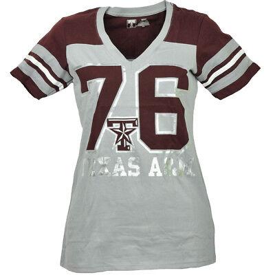 Ncaa Texas A&m Aggies Atm Grau T-shirt Damen Gestreift Kurzarm V-ausschnitt Erfrischung Sport Fanartikel