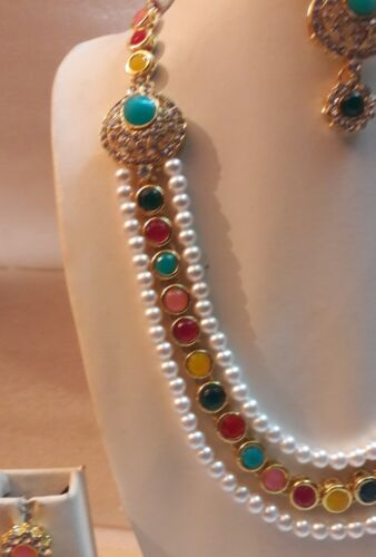 Navrang Multi Color Traditional Necklace Gold Tone Indian Fashion Party Jewelry