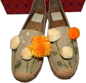 Tory-Burch-Natural-Linen-Lily-Pompom-Platform-Espadrilles-Flats-Shoes-9