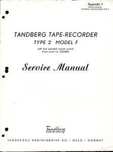 tandberg service manual for type 2 model f appendix 1 tape recorder rh ebay com tandberg 9100x service manual tandberg 3011 service manual