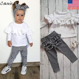 b18cb5ac3 US Toddler Kids Baby Girl Ruffle Plaid Tops Pants Leggings 2Pcs ...
