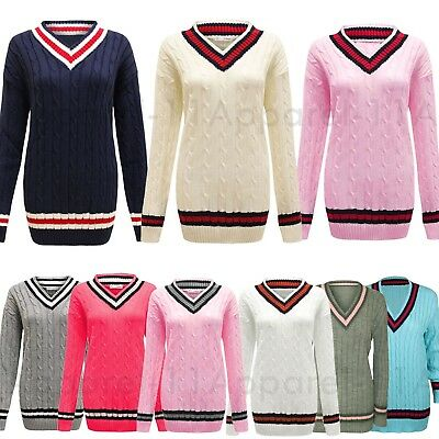Ausdrucksvoll Womens Ladies Cable Knitted V Neck Long Stretch Cricket Jumper Pullover Top Plus Extrem Effizient In Der WäRmeerhaltung