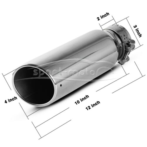 "3/"" Inlet 4/"" Outlet 12 inch Long Rolled End Angle Cut Exhaust Tip Tail Pipe S//S"