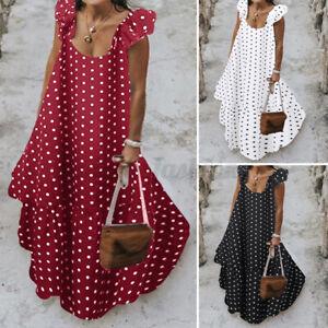 Mode-Femme-Robe-a-pois-Ample-Dresse-Plage-Bohemienne-Plisse-Sans-Manche-Plus