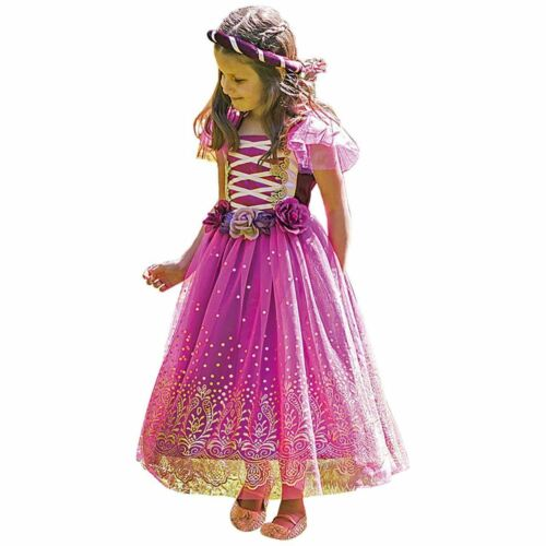 Purple and Gold Girls Tudor Medieval Fairytale Plum Princess Fancy Dress Costume