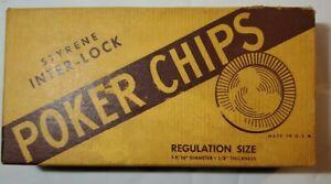 Vintage-Ca-1961-Styrene-Poker-Chips-Wm-F-Drueke-amp-Sons-Unused-in-Original-Box