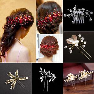 LC/_ donna fiori da sposa PETTINE FERMAGLI per capelli accessori matrimonio