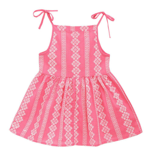 Toddler Kid Baby Girl Solid Flower Striped Princess Party Dress Sundress Clothes