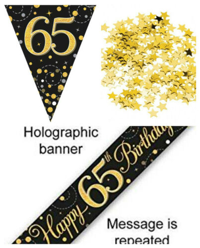 65th Birthday Decoration Kit Banner Bunting Confetti BlackGold Him Her Men Women
