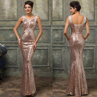 SEQUINS Long Formal Bridesmaid Evening Ball Gown PARTY V-Neck Wedding Maxi Dress
