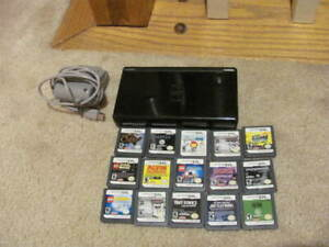 HUUUUGE Nintendo DS Lite BLACK Bundle 15 Games Home  Charger TESTED WORKING--