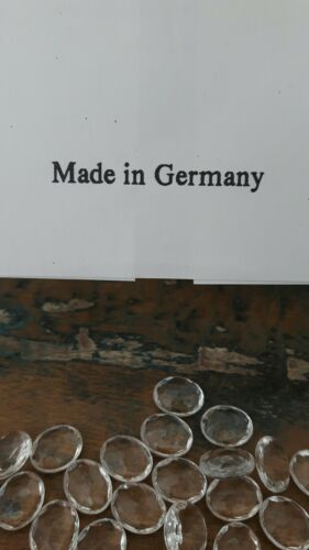 ♡ 25 pièces anciennes briques de verre cristal ovale facettes Taille 10 x 8 mm Neugablonz ♡