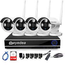 Eyedea 4 CH 5500TVL Wireless 1080P WIFI NVR Home CCTV Security Camera System 1TB
