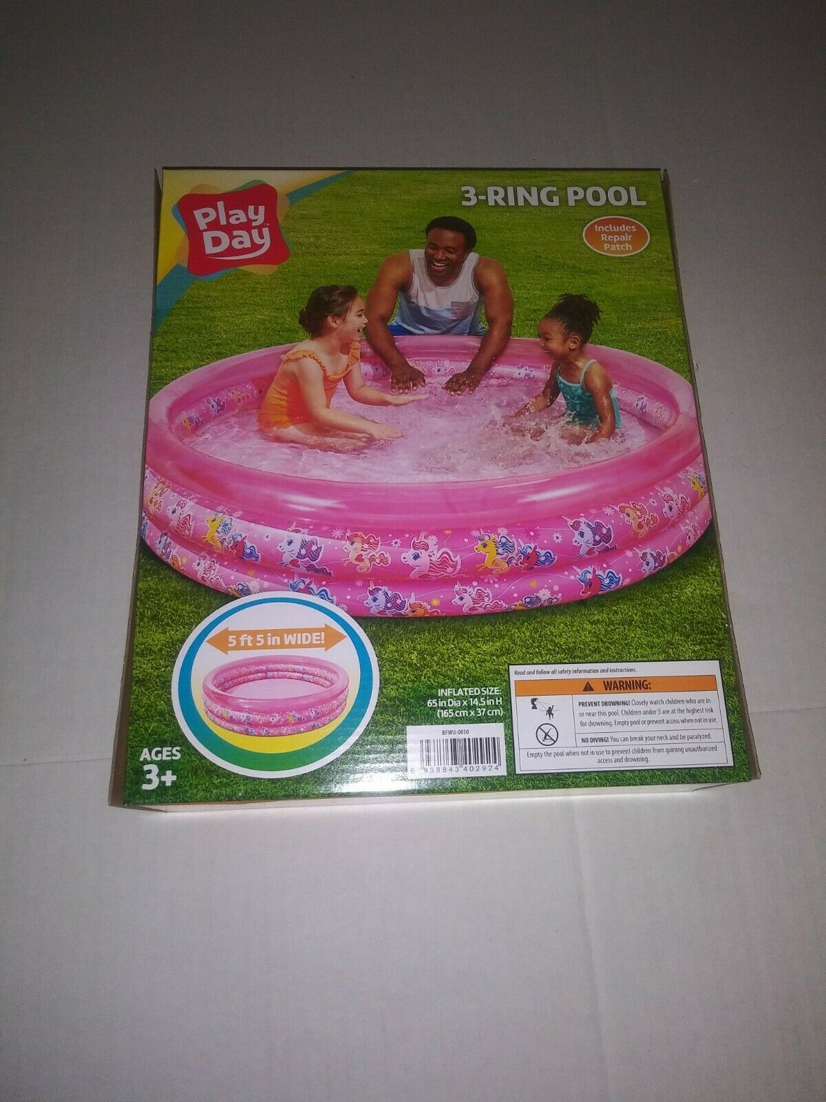 NEW Play Day 3 Ring Inflatable Pool (Pink Unicorns)