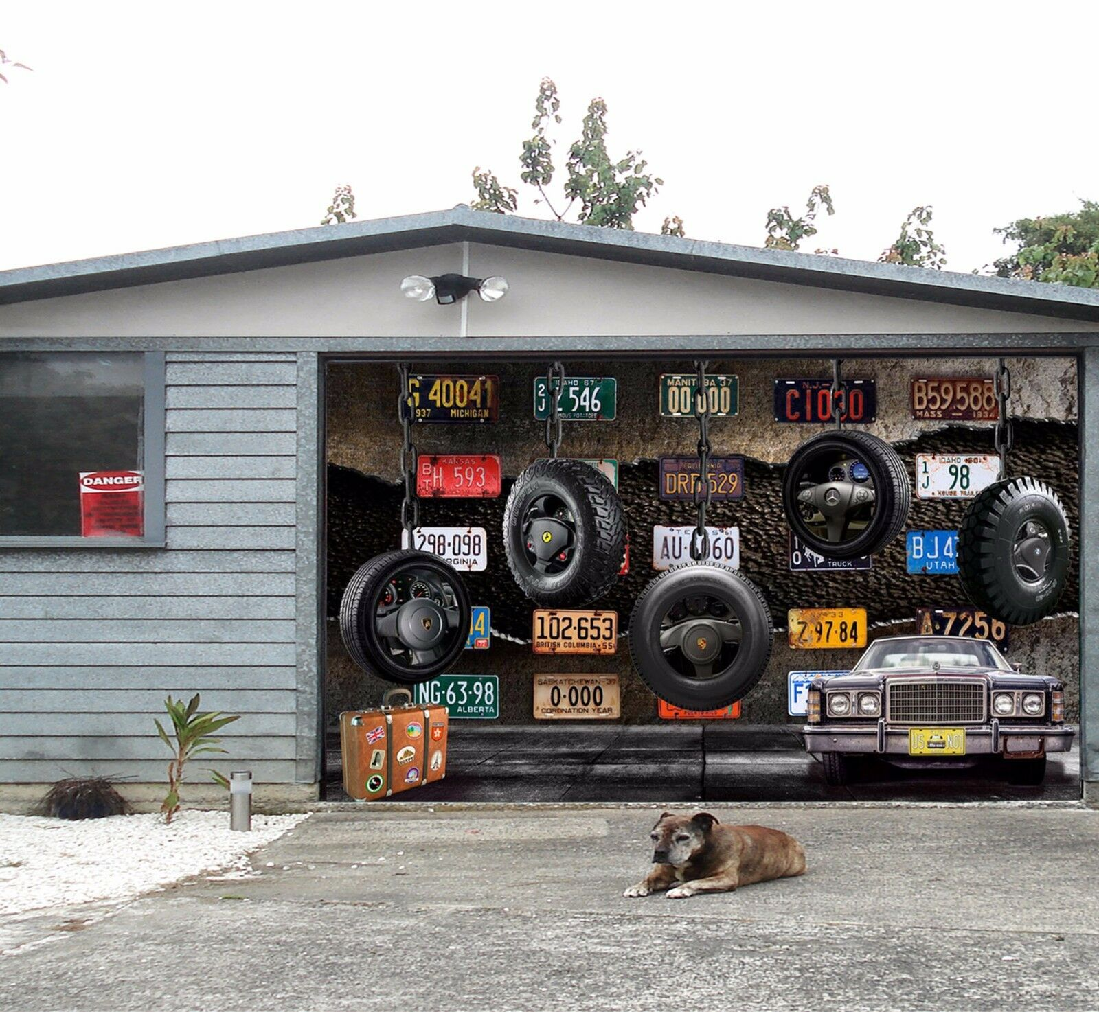 3D License plate Garage Door Murals Wall Print Decal Wall Deco AJ WALLPAPER UK