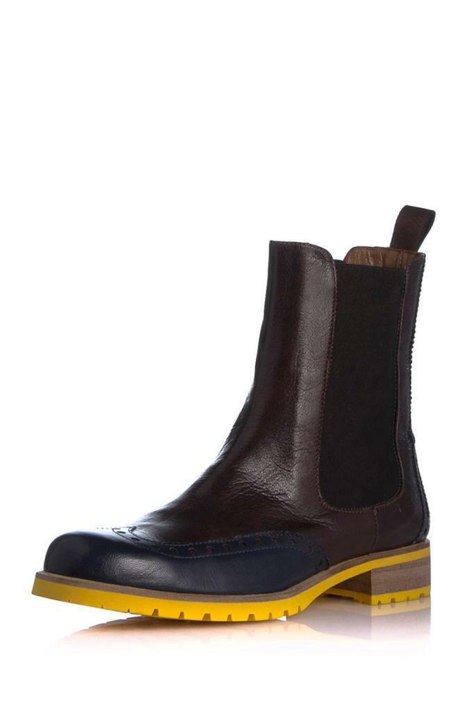 Studio Pollini Colorblock Leather Rain Boot Dark Brown Mustard yellow Navy Short