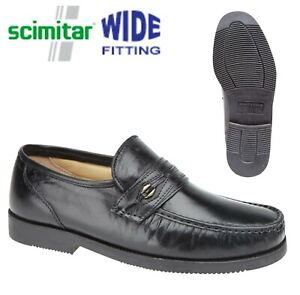 Mens Scimitar Wide Fit Moccasin Shoes Black Leather Slip On Sizes 7 to 12