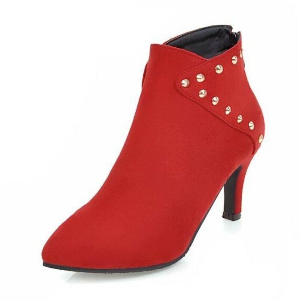 Large Size Ankle Boot Women High Heels Rivet Pointed Toe Spike Heels Zipper shoes