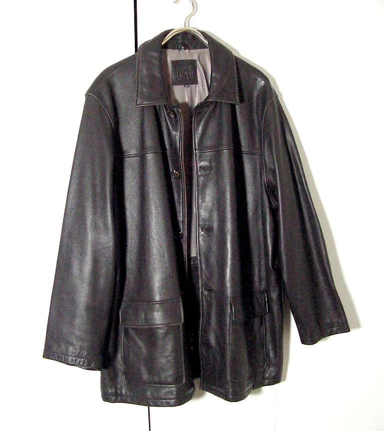 Field Gear Dark Braun Leder Supernatural Dual Button Zip Coat Sz XLT /2XLT