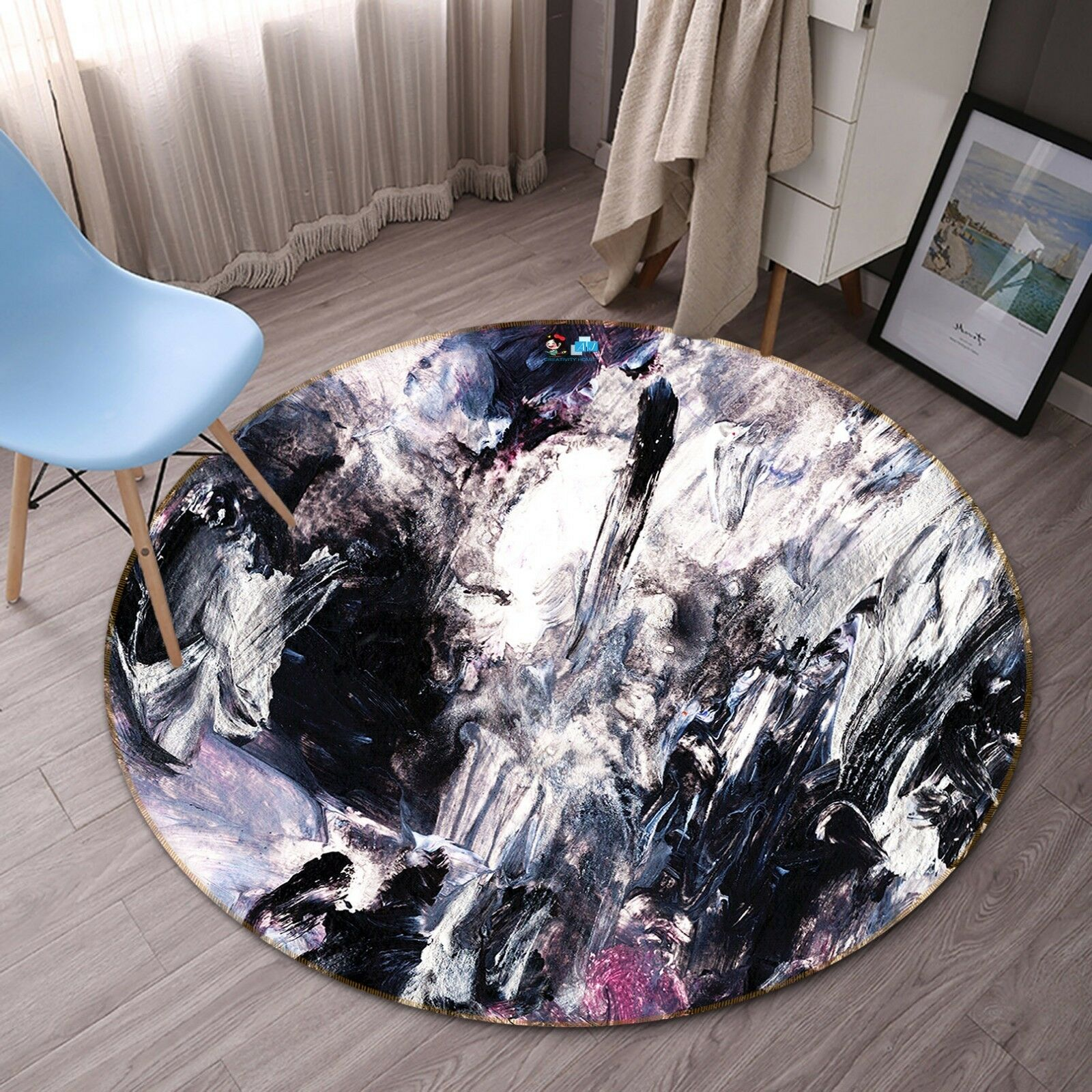 3D viola Graffiti 4 Non Slip Rug Room Mat Round Quality Elegant Photo Carpet AU