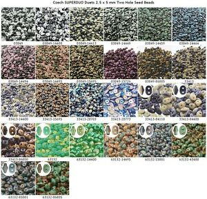 CLEARANCE-10-g-or-24-g-Czech-SUPERDUO-Duets-2-5x5-mm-Two-Hole-Seed-Beads