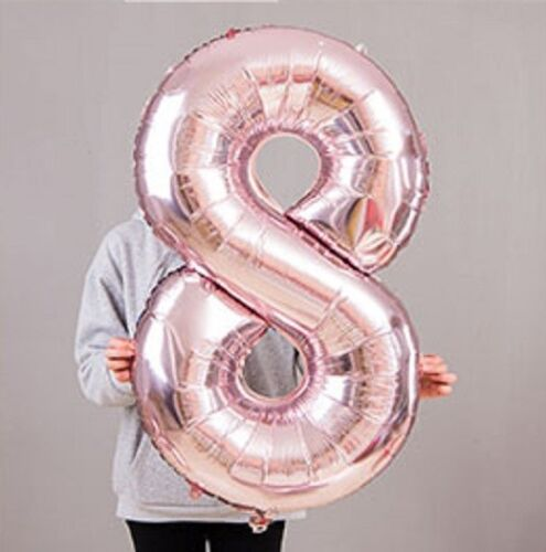 32//40inch Rose Gold Number Foil Balloons 0 1 2 3 4 5 6 7 8 9 Year Helium Balloon