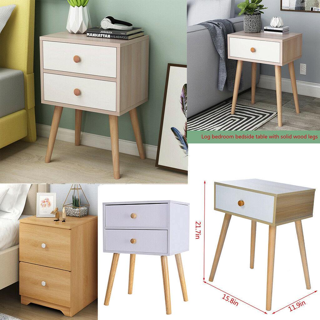 2 Drawers Nightstand Storage Wood End Table Bedroom Side Bedside Table  Modern