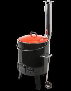 Gulaschkanone-Eintopfofen-mit-Grillrost-Starterset-Kochloeffel-Schoepfkelle