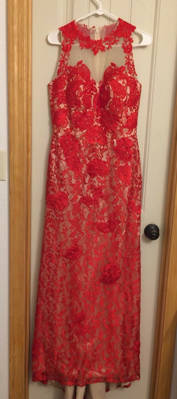 High Collar Red Lace Prom Dress