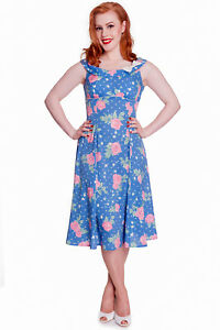 hell bunny 60's retro shabby chic pink rose  dots blue