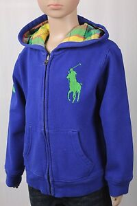 Children POLO Ralph Lauren Blue Big Pony Plaid Hoodie NWT $55
