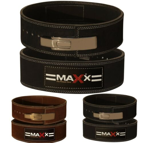 Maxx Leather Weight Lifting Belt Bodybuilding Gym Powerlifting Gym Metal Lever