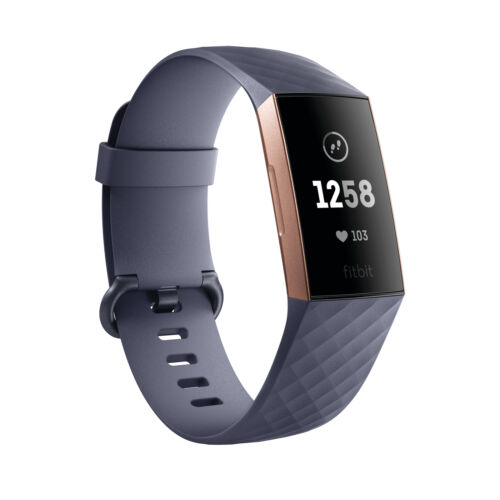 Fitness Band Activity Tracker Rose Gold//Blue Grey Fitbit Charge 3 Heart Rate
