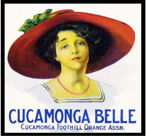 Cucamonga San Bernardino County Belle Orange Citrus Fruit Crate Label Art Print