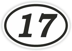 17-SEVENTEEN-NUMBER-OVAL-STICKER-bumper-decal-car-motocross-motorcycle-Aufkleber