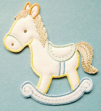 Rocking Horse - Baby Design - Cream/Pastels - Embroidered Iron On Applique Patch