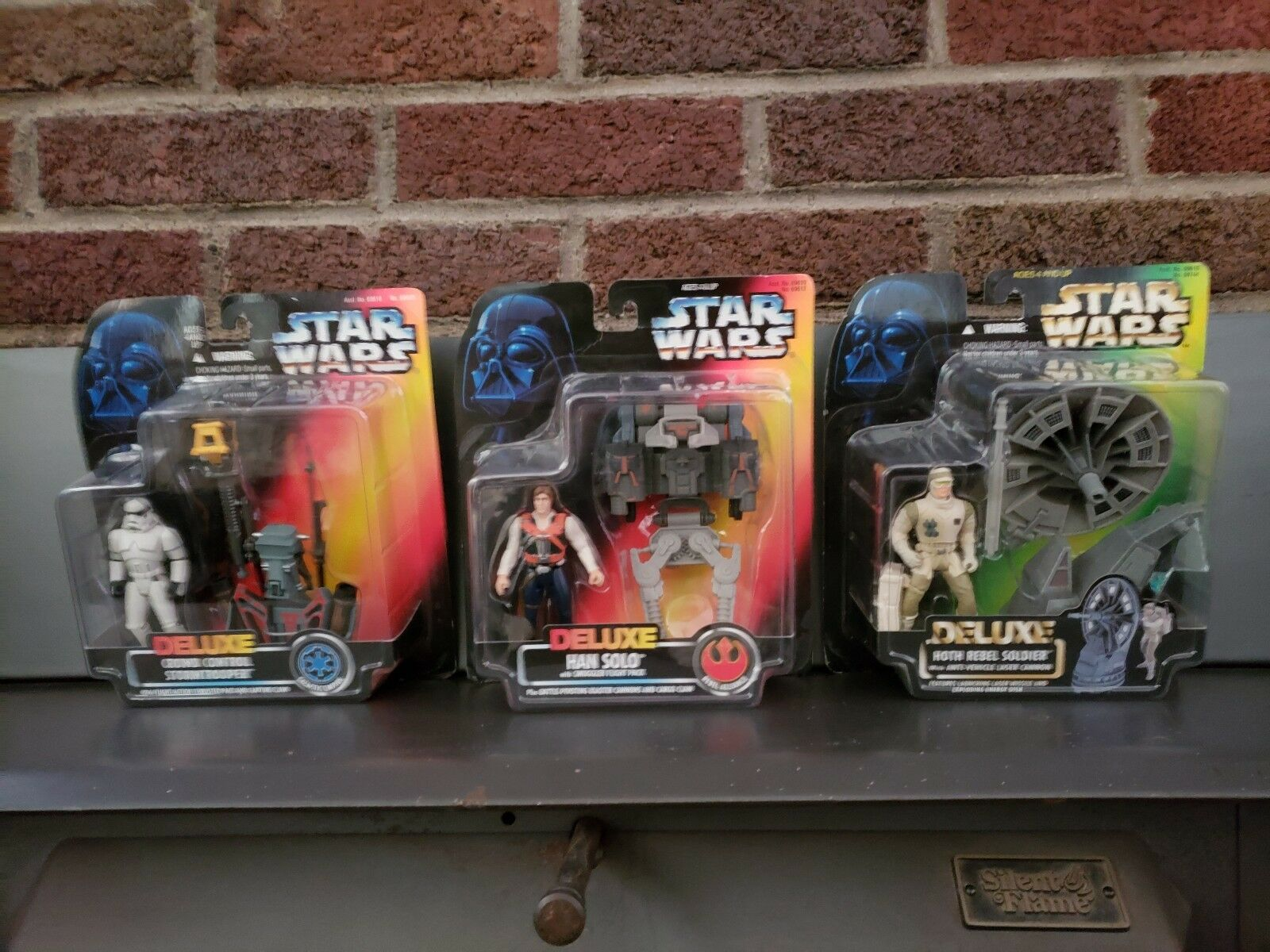 Star Wars Deluxe 1996 Lot of 3, Han solo, Stormtrooper, Rebel Soldier, NIP