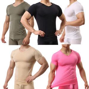 Men/'s Gym Muscular Fitness Bodybuilding Crew Neck T Shirt Tight Tops Slim Fit