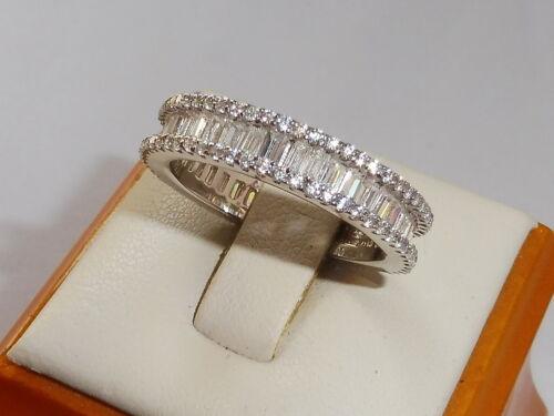 Damen Sterling Silber 925 weißen Saphir voller Ewigkeit Verlobungsring