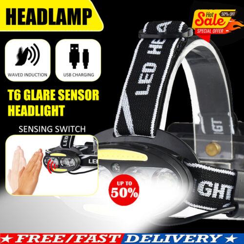T6 COB 6//8LED Headlamp USB Rechargeable Headlight Lighting Modes Head Torch UK!!