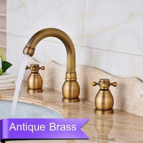 Black//Antique Brass//Gold Bathroom Basin Sink 2 Handles 3 Holes Mixer Faucet Taps