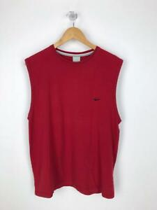 Vintage-NIKE-Mens-Tank-Top-Vest-Sport-Retro-Summer-Large-L-Red