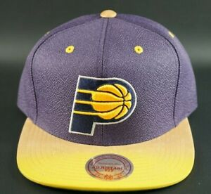 Indiana-Pacers-Mitchell-amp-Ness-Painted-Leather-Visor-Strapback-Hat-Cap-NBA-OG-DS