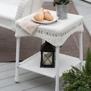 Image Is Loading South Bay Traditional White Wicker Patio End Table