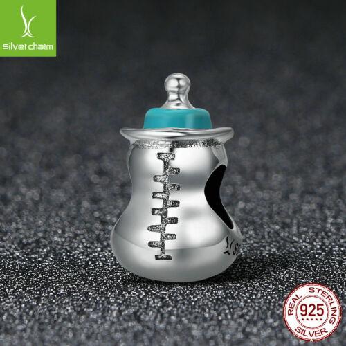 Authentique Argent Sterling 925 Mignon Bébé Lait Bouteille Mémoire Charm Beads Fit Chain