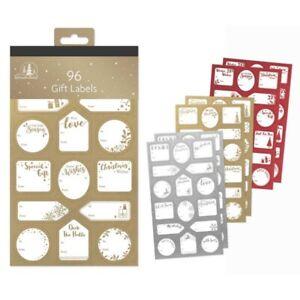 96-oro-argento-rosso-Etichette-Regalo-di-Natale-Etichetta-Sticker-Etichette-Nome-Regalo-di-Natale